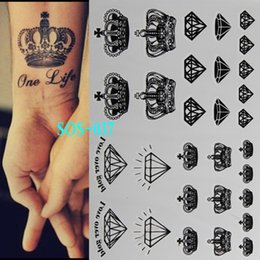Wholesale Paintings Indian - Black tattoo Diamonds Crowns temporary tattoo flash tattoos body art 3d tattoo painting shiny disposable indian henna tatuagem