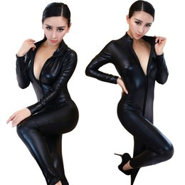 Wholesale Casual Lingerie - 2017 Super Cool Black Leather Latex Women Bodysuit Sexy zip open Jumpsuit Erotic Lingerie PVC Triangle Catpsuit Cosplay Clubwear