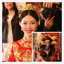 c8f690f6204c Matrimonio cinese sposa spose capelli accessori per capelli principessa  regina fiore corona forcelle copricapo acconciature da sposa