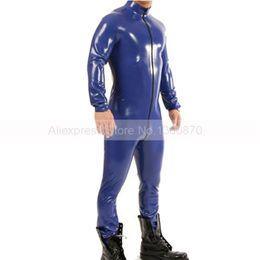 Usura della gomma maschio online-Catsuit in lattice maschio blu scuro con gonna aderente in gomma con zip frontale Club Wear S-LCM115