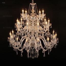 2019 vaso redondo de 24 pulgadas American Candle chandeliers duplex Escalera Hotel Villa lobby lámpara colgante clásico colgante atmosférico Araña de cristal