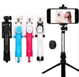 Wholesale Universal Shutter - Foldable Monopod Phone Selfie Stick Bluetooth Shutter Remote Tripod 3 in 1 Self-portrait Wireless Handheld Selfie Stick