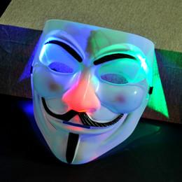 Trajes de cosplay chicos online-Disfraz de máscara de Halloween V Cosplay Guy Fawkes Luminoso LED V PARA Vendetta Anónimo Fiesta de adultos Máscaras decoraciones GGA1059