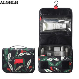 Wholesale Hanging Beauty Organizer - Wholesale-ALGHLH Rushed New Travel Flowers Hanging Storage Bag Cosmetics Make Up Portable Large Necessary Beauty Wash Toiletry Organizer