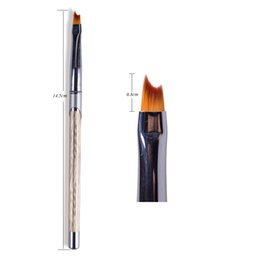 Wholesale Nails French Brush - China brush drawing Suppliers 1PCS Half Moon Head French Tips Nail Brush Drawing Painting UV Gel Polish DIY Decorations Pen Glitter Gold