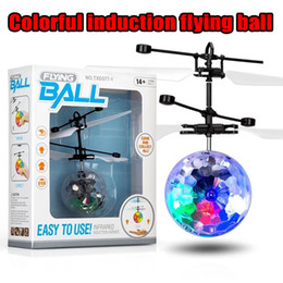 big light balls Promo Codes - Flying copter Ball Aircraft Helicopter Led Flashing Light Up Toys Induction Electric Toy sensor Kids Children Christmas with package