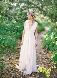 Wholesale Wedding Gown Chiffon Backless Flowing - 2018 Cheap Grecian Backless Beach Wedding Dresses V Neck Flowing Vintage Boho Bridal Dresses Plus Size Vintage Greek Goddess Wedding Gowns