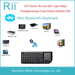pc rii bluetooth Rebajas 2015 RII K02 3IN1 MINI Teclado inalámbrico Bluetooth Teclado Touchpad retroiluminado teclado para PC Andorid TV Box
