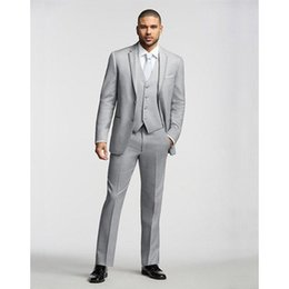 men s light gray suits Promo Codes - Mens Suits Light Gray Slim Fit Custom Made Side Vent Best Men Suit Wedding Bridegroom Groomsmen Tuxedo( jacket+Pants+vest+tie)
