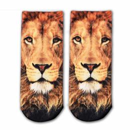 Argentina Nueva impresión 3D Calcetines de animales Moda Tigre Pandon Gato Perro León Imagen de arte Calcetines de mujer Calcetines de algodón coloridos Calcetín de arte divertido para mujer cheap lion socks Suministro