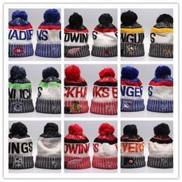 Wholesale Hip Hop Style Beanie Hats - new styles NHL Women Winter Knitted Wool Cap Blackhawks Penguins Flyers Sharks Beanies Unisex Casual Hats & Caps Men Hip-Hop Beanie Warm Hat