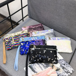 Wholesale white envelope purse - Glitter Sequins Clutch Bag Spangle Handbag Party Envelope Wallet Purse Mermaid Cross Body Shoulder Bag Cosmetic Bags OOA5312