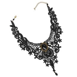 Wholesale Victorian Gothic Necklace - whole saleJAVRICK Vintage Gothic Black Lace Beads Necklace Victorian Steampunk Style Choker Collar
