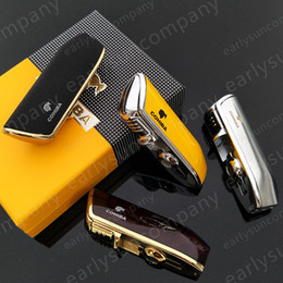 Wholesale Windproof Cigar Torch Lighter - Beautiful Creative High Quality COHIBA Yellow Metal 3 Torch JET Flame Cigar Cigarette Lighter With Punch