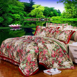 Wholesale Pillowcase Skirt - Wholesale- New arrival Luxury Cotton and linen Hotpink Flouncing Sexy Printed 4pcs Bedding Set Duvet Cover  Bed Skirt  Pillowcase