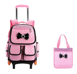 c74d3df159ca Trolley School Bag for Girls with 3 Wheels Backpack Children Travel Bag  Rolling Luggage Schoolbag Kids Mochilas Bagpack handbag