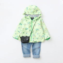 Wholesale Korean Leather Jacket Style - Everweekend Kids Girls Spring New Print Bird Zipper Korean Coats Hooded Hoodie Children Jackets Fashion Outwears