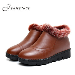 Wholesale Open Shoes Trend - 2017 New Women Boots Classic Women Winter Boots Waterproof Genuine Leather Snow Winter Lady's Trend Cotton-padded Shoes