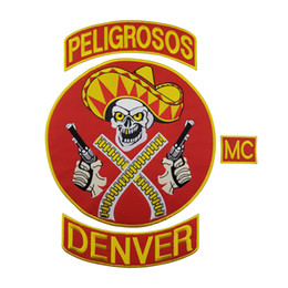 Wholesale Gun Sales - HOT SALE PELIGROSOS DENVER RED COWBOY WITH GUN MOTORCYCLE CLUB VEST OUTLAW BIKER MC JACKET PUNK LARGE BACK PATCH COOLEST IRON ON WEST PATCH