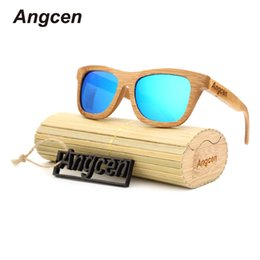 Wholesale Handmade Wooden Frame - Angcen 2017 New fashion Products Men Women Glass Bamboo Sunglasses au Retro Vintage Wood Lens Wooden Frame Handmade ZA03