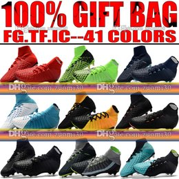 Wholesale Indoor Soccer Boots - Original New High Ankle Top Football Boots Hypervenom Phantom III DF FG ACC Soccer Cleats HypervenomX Proximo TF IC Indoor Soccer Shoes Turf