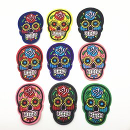 Wholesale Iron Patches Skulls - 15pcs Mixed Skull Clothes Patch DIY Skeleton Embroidered Patches Iron On Fabric Badges Sew On Cloth Stickers