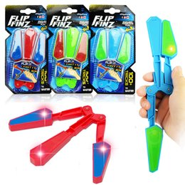 Wholesale Toys Plastics - LED Flip Finz Relief Toys Flip Finz Stress Reliever Light Up Butterfly Flipper Finger Hand EDC Toys Training Focus Spin AAA165