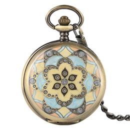 смотреть женщин медь Скидка Copper Chain Steampunk Crystal Flower Mechanical Hand Winding Pocket Watch Vintage Antique Gift For Men Women