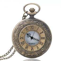 Wholesale Number Acrylic Watch - Bronze Retro Quartz Pocket Watch Hollow Design Roman Number Face Dial Vintage Necklace Gift for Men Women Pendant.