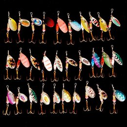 spinner hard bait lure Promo Codes - Hot 30pcs lot Spinners Fishing Lure Mixed Color Size Weight Metal Spoon Lures Hard Bait Fishing Tackle Free Shipping Atificial