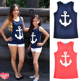 Wholesale mom vest - Family matching clothes anchor printed bow cotton sleeveless vest parent-child casual suits family summer outfits mom kids clothes