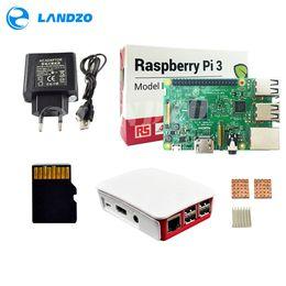 Wholesale Heat Cards - H Raspberry Pi 3 Model B starter kit-pi 3 board   pi 3 case   European power supply 16 G memory card  heat sink