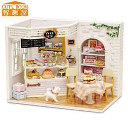 Wholesale Miniature House Lighting - Assemble DIY Doll House Toy Wooden Miniatura Doll Houses Miniature Dollhouse toys With Furniture LED Lights Birthday Gift h014