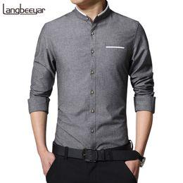 Vêtements d'affaires coréens en Ligne-Nouveau Mode Casual Hommes Solide Chemise À Manches Longues Col Mandarin Slim Fit Shirt Hommes Coréen D'affaires Hommes Robe Chemises Hommes Vêtements M -5xl