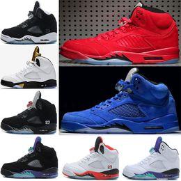 best cheap 55303 f2ef6 Zapatillas de baloncesto 5 V para hombre OG Negro Metalizado Oro Cemento  blanco Negro Uva Azul rojo Gamuza rojo fuego Oreo 5s Classic Sport Sneakers