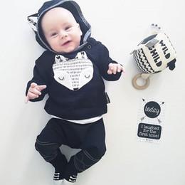 2019 baby boy girl trajes a juego 2018 INS bebé bebés niña zorro imprimir con capucha jersey de arriba con pantalones largos a juego 2pcs trajes recién nacidos niños trajes de algodón suave conjuntos baby boy girl trajes a juego baratos