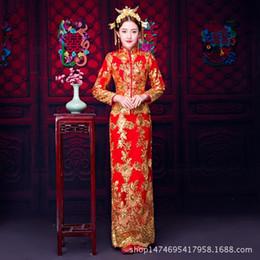 Traditionelles chinesisches brautkleid online-Traditionelles Hochzeits-Kleid-neues Braut-Kleid-Chinese Cheongsam Phoenix Weinlese kleidet elegantes China Qipao Roben-orientalischer Großverkauf an