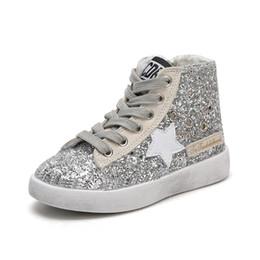 High Top Kleinkind Schuhe Mädchen Glänzende Pailletten Leinwand Schuhe Kinder Kleine Schmutzige Schuhe Sterne Kinder Sneakers Seitlichem Reißverschluss von Fabrikanten