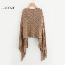 3d61012ee24fc5 boho ponchos Rabatt COLROVIE Fringe Hem Khaki Pullover Vintage Boho Poncho  Herbst 2017 Mode Frauen beiläufige. 34
