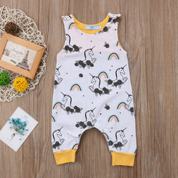 Wholesale Christmas Baby Clothes Months - Summer Baby Boys Girls Toddler Unicorn Rainbow Jumpsuit Sleeveless Cotton Romper Kids Outfit Rainbow Bodysuit 0-24M Kid Clothing