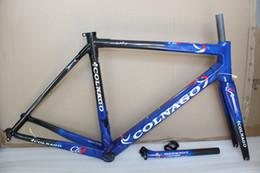 Kaliteli UD Mat Siyah-mavi Colnago karbon bisiklet Frameset C60 BB386 XS-S-M-L-XL ile karbon yol çerçeve seçimi için ücretsiz kargo nereden mavi siyah bisiklet kasaları tedarikçiler