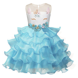 Wholesale full outfits - Girls New Unicorn Dress Grenadine Dresses Embroidered Unicorn Cartoon Design Flowers Full Dress Performance Clothes Summer Outfits 2-7T