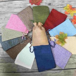 Wholesale jewelry fabric packaging - 13*18cm beige Linen Fabric Drawstring bags Candy Jewelry Gift Pouches small package bags 50pcs lot MMA203