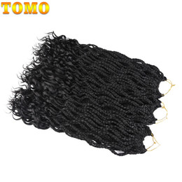 Wholesale Kanekalon Hair African - 18Inch 24strands pack African 3X Box Braids with Curly End Crochet Hair Black Kanekalon Synthetic Crochet Braiding Hair Extensions