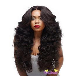 """Длинный черный парик толщиной онлайн-Реальные толстые дамы 28 """" длинные вьющиеся половина парик жаропрочных 3/4 полная голова парики синтетический черный парик"""