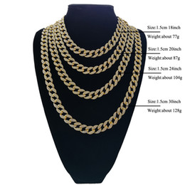 Wholesale iced face - Full Diamond Cuban Necklace 18inch 20inch 24inch 30inch Bling Jewelry Necklace for Men Iced Out Miami Curb Cuban Link Chain