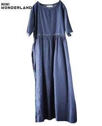 Túnica do império on-line-NINI WONDERLAND Império Cowboy azul mulheres verão vestido robe vintage longo feminino túnica vestidos de roupas soltas Denim dress plus size