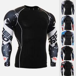 2019 ropa interior negro brillante Camisa de compresión de alta calidad para hombre camisa deportiva transpirable hombres gym top running t men elástica fitness camiseta