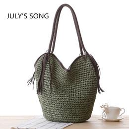 Wholesale Beach Bags Natural - Vintage Natural Straw Beach Bag Basket Weaving 2017 Women Simple Tassel Shoulder Bag Tote design handbags High-quality