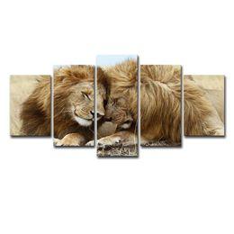 Quadros casais de arte on-line-Canvas Prints HD Pictures para sala de estar Home Decor Framework 5 Pieces Lions Casal Pinturas Lovebirds animais Pôsteres Wall Art